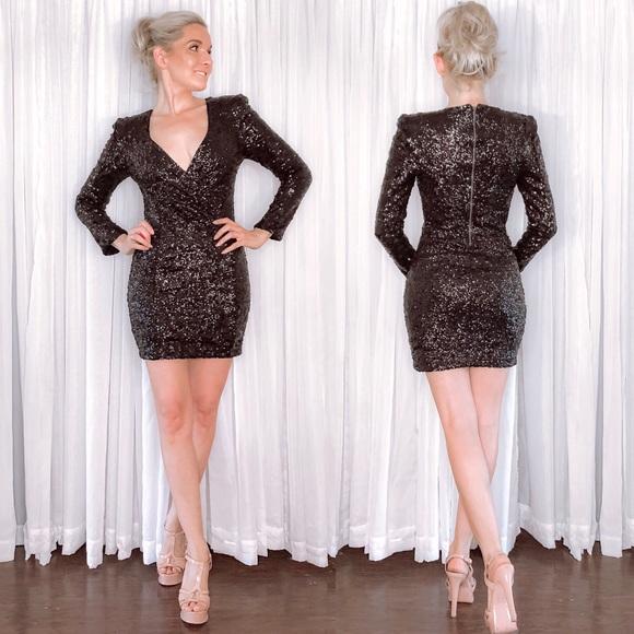Express Dresses & Skirts - Black Sequin Long Sleeve Dress Express